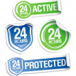 24 hours active protection stickers. - Stock Vector