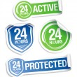 24 hours active protection stickers. — 图库矢量图片