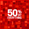 Vector de stock : 50 percent off sale background.