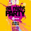 All Night Party design template. — Stok Vektör #14206334