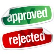 Approved and rejected stickers — Stock Vector