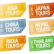 Travel stickers tickets. — Vector de stock #14206363