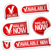 Available now stickers. - Stock vektor