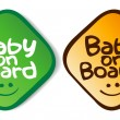 Stock Vector: Baby on board stickers.