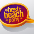 Royalty-Free Stock Vector Image: Best beach party speech bubble.