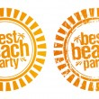 Stock Vector: Best beach party stamp.
