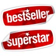 Bestseller and superstar stickers. — Stok Vektör #14206570