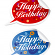 Happy birthday and holidays stickers. — Stock Vector #14206649