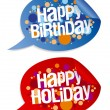 Happy birthday and holidays stickers. — Stock Vector #14206650