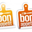 Stock Vector: Bon appetit stickers set.