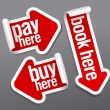 Pay, buy, book here stickers. - Stock Vector