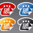Stok Vektör: Call now stickers.