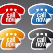 Vector de stock : Call now stickers.