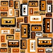 Cassette tape seamless pattern. - Stock Vector