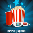 Cinema poster with snack and 3D glasses. - Stok Vektr
