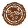 Stamp with coffee beans — Image vectorielle