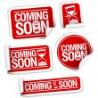 Coming soon stickers. - Stock Vector