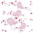 Stockvector : Background with cupids and hearts