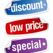 Stickers for discount sales. - 图库矢量图片