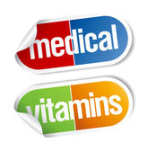 Vitamins, pills stickers. — Stock Vector