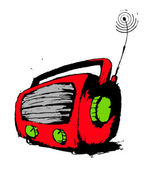 Red radio. — Stock Vector