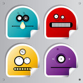 Funny Robots stickers. — Stock Vector