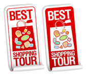 Best shopping tour stickers. — Stock Vector
