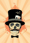 Circus design with magician skull. — Vector de stock
