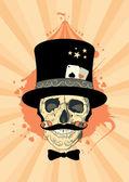 Diseño de circo con cráneo de mago. — Vector de stock