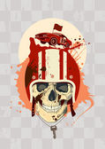Racing design template with skull. — Stock vektor