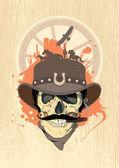 Diseño del oeste con cráneo vaquero. — Vector de stock