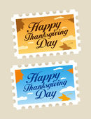 Happy Thanksgiving postage stamps. — Stock Vector