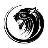 Lion circle tribal tattoo art. — Vector de stock