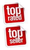 Top seller stickers — Stock Vector