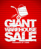 Giant warehouse sale design template. — Stockvector