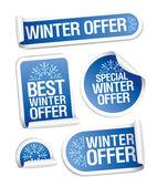 Autocollants offre spéciale hiver. — Vecteur