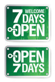 7 Days Open signs — Stock Vector