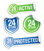 Pegatinas de protección activa 24 horas. — Vector de stock