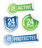 Rund um die uhr aktiven schutz aufkleber. — Stockvektor