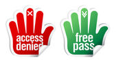 Access denied and free pass stickers — Stock Vector