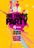 All Night Party design template. — ストックベクタ