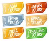 Adesivos bilhetes de viagem. — Vetorial Stock