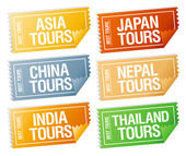 Travel stickers tickets. — Stockvector