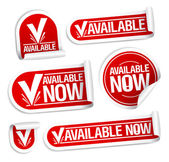 Available now stickers. — Stock Vector