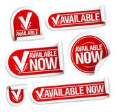 Tillgänglig nu klistermärken. — Stockvektor