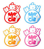 Baby in car stickers. — Stock Vector