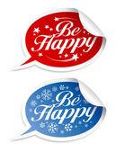 Essere felici adesivi — Vettoriale Stock