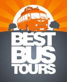 Mejor plantilla de diseño bus tour. — Vector de stock