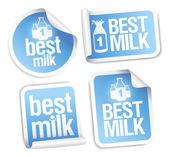 最好的牛奶贴纸. — 图库矢量图片