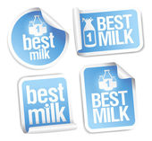 Best milk stickers — Stock Vector